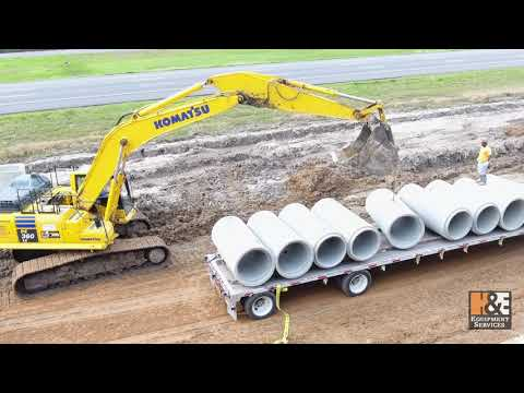 Komatsu PC360LC Excavator Laying Storm Sewer Pipe - McManus