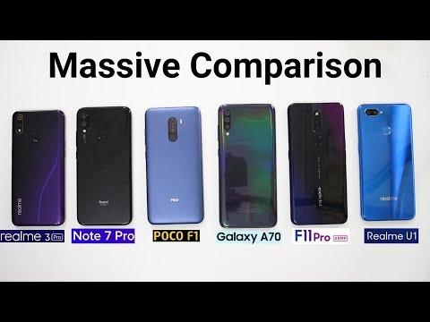 Realme 3 Pro Vs Poco F1 Vs Redmi Note 7 Pro Vs Samsung A70 Vs Oppo F11 Pro Vs Realme U1 SpeedTest