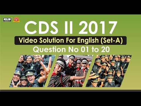 CDS II 2017 Video Solution For English(Set A) Question No 1 to 20