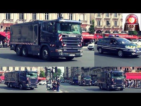Police Motorcycle Heavily Armed Escort Banque de France Money Transfer