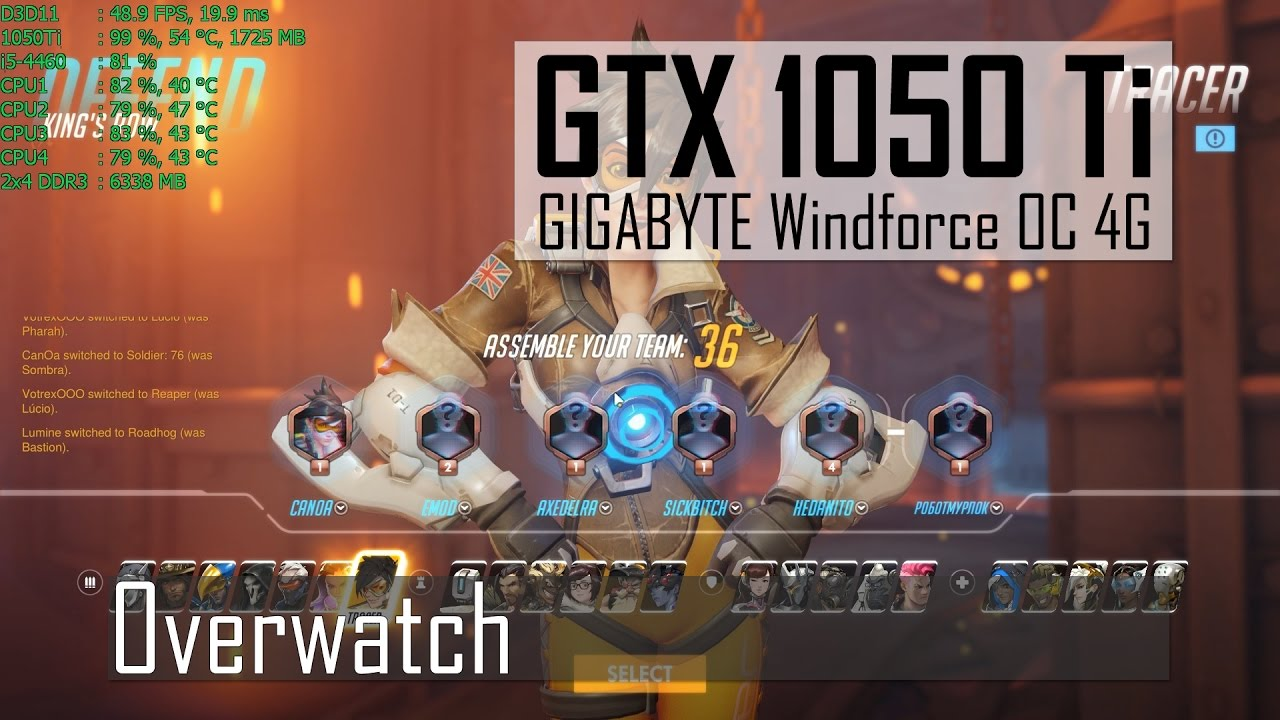 Overwatch   1080p Epic   GTX 1050 Ti   i5-4460