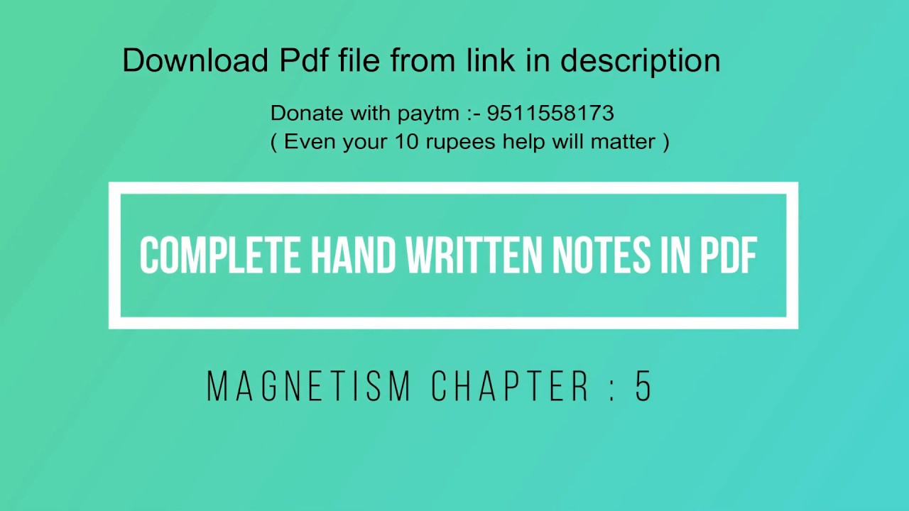 Magnetism Complete pdf notes (chapter:5)