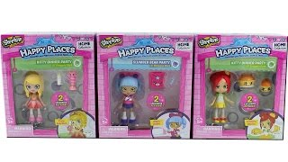 Shopkins Happy Places Kitty Dinner Party and Slumber Bear Party Lil Shoppies Packs Unboxing Review