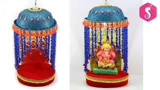 Ganpati Decorations Ideas at Home | Ganesh MAKHAR idea | Eco Friendly Makhar 2019