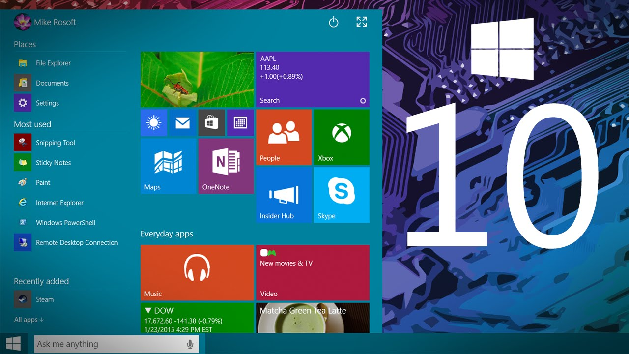 windows 10 demo technical preview build 9926 youtube