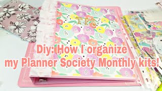 Diy: How I organize my Planner Society monthly Kits | 2018 | Planning With Eli