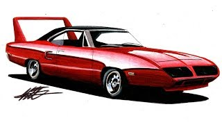Realistic Car Drawing - Plymouth Superbird - Time Lapse