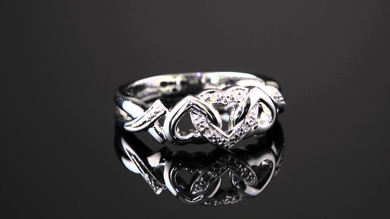 Diamond Accent Interlocking Hearts Promise Ring In Platinum Over