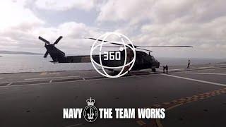 Navy MRH-90 Helicopter landing 360-degree video