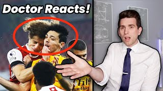 Doctor Reacts to SCARY Head Clash & Raul Jimenez Skull Fracture!