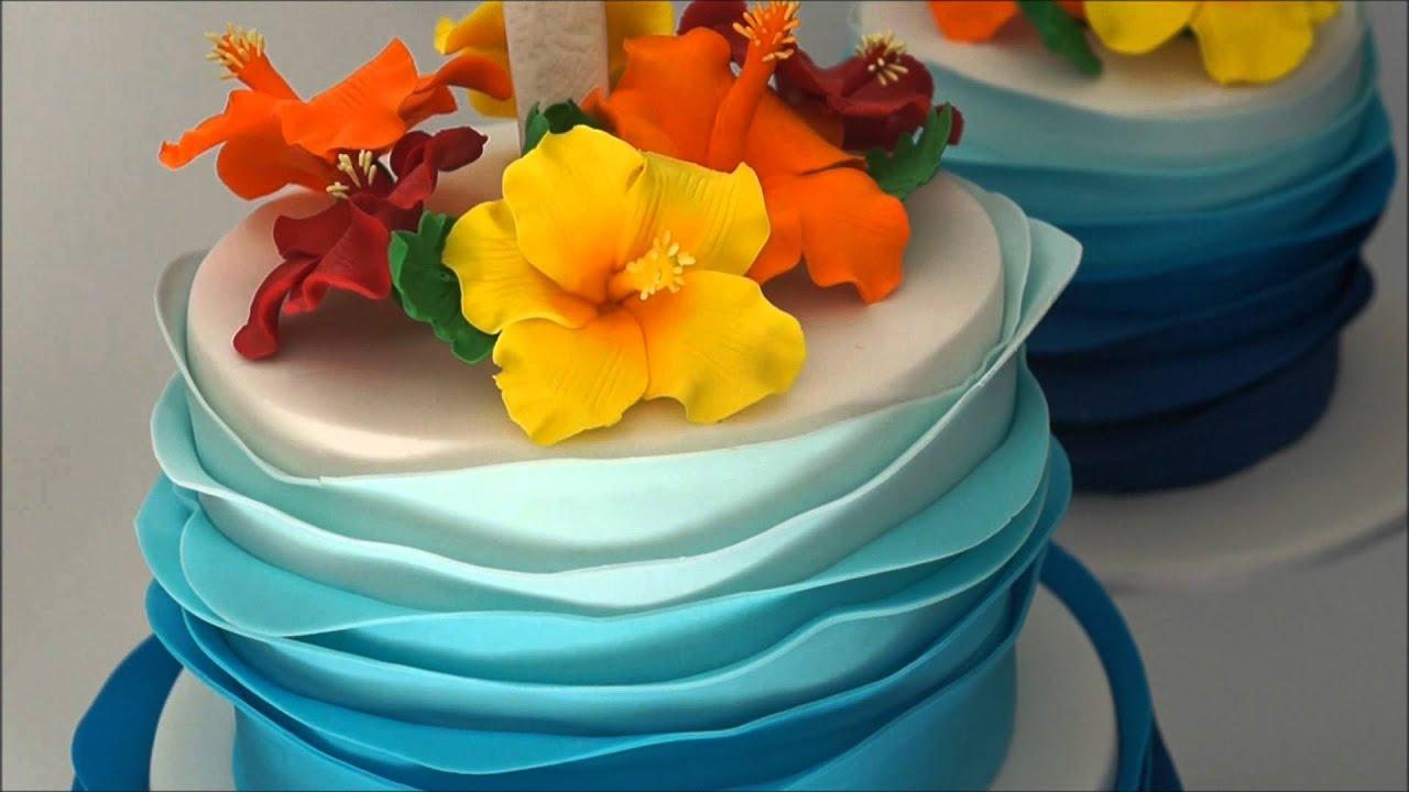 Blue Hawaiian Ruffle Cake Youtube