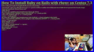 How To Install Ruby on Rails with rbenv on CentOS 7.3