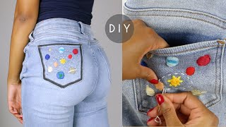 DIY Embroidered Denim Jeans Pocket - Outer Space