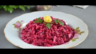 Рецепт свекольный салат с чесноком и сыром