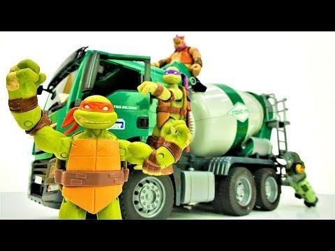Черепашки Ниндзя на стройке! Видео с машинками для мальчиков.