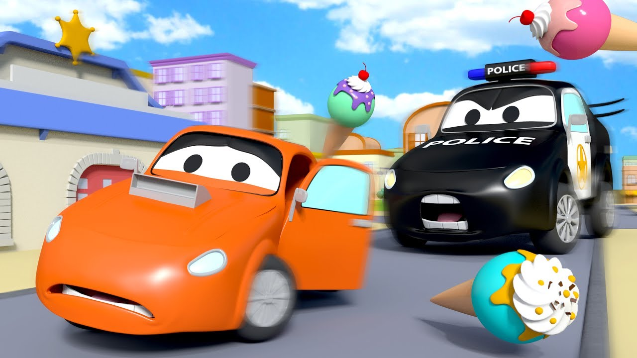 The car patrol fire truck and police car ice cream thief in car city cars cartoon for children