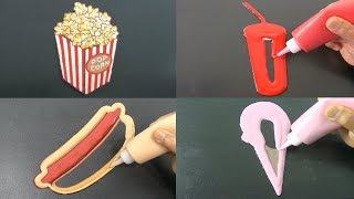 Movie Theatre Food Pancake Art - Popcorn, Soda, Hot Dog, Ice Cream
