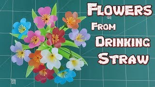 DIY Drinking Straw Crafts Idea | How to Make Fold Beautiful Flower From Plastic Tubes Tutorial Ep.16