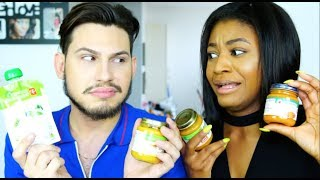 Download Video The Baby Food Challenge With BAE (He Throws Up!!) | Beauty With Vee ♡ MP3 3GP MP4