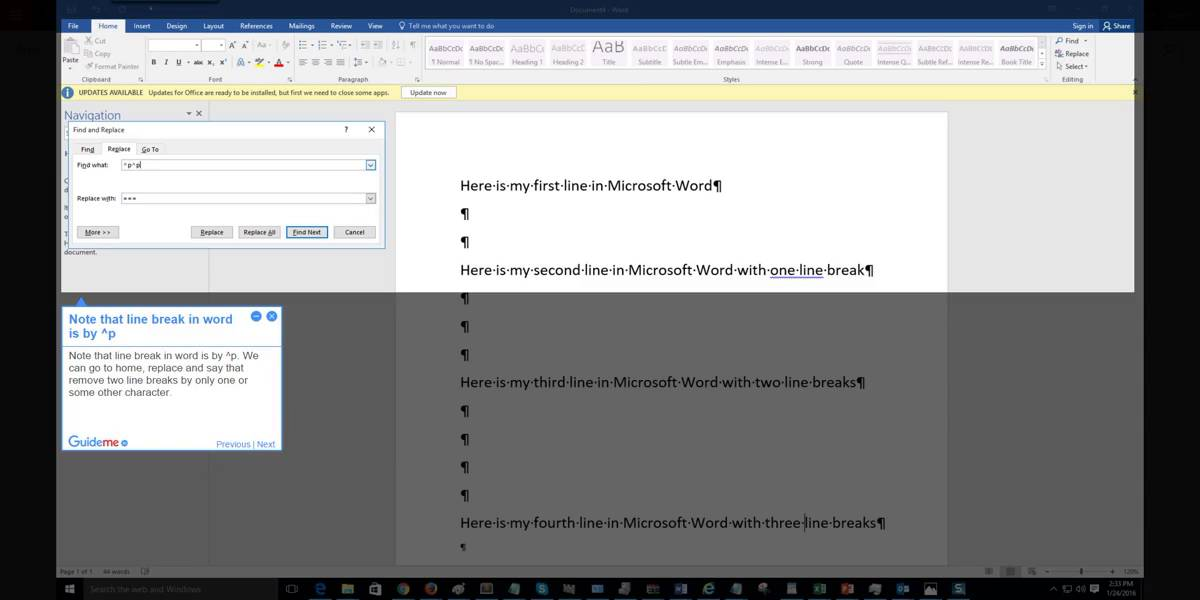 How to easily remove line breaks in Word 2016 @office365 @word