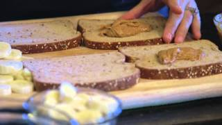 Grilled Nut Butter, Banana and Raisin Sandwiches with Apple Slices