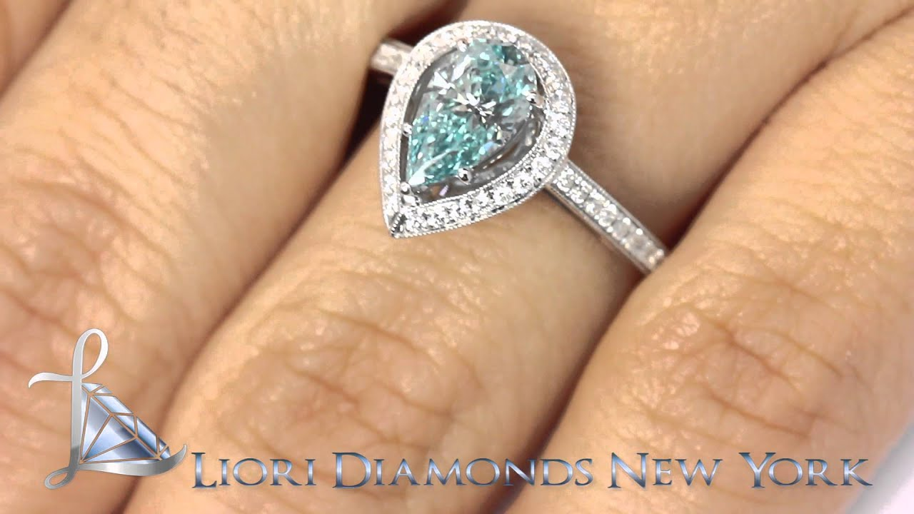 FD SOLD 031 1 80 Carat Fancy Blue Pear Shape Diamond Engagement