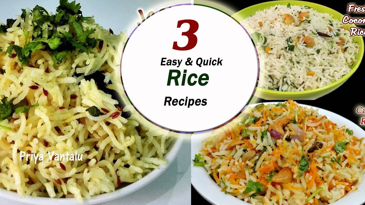3 Quick & easy Rice recipes || Lunch box recipes