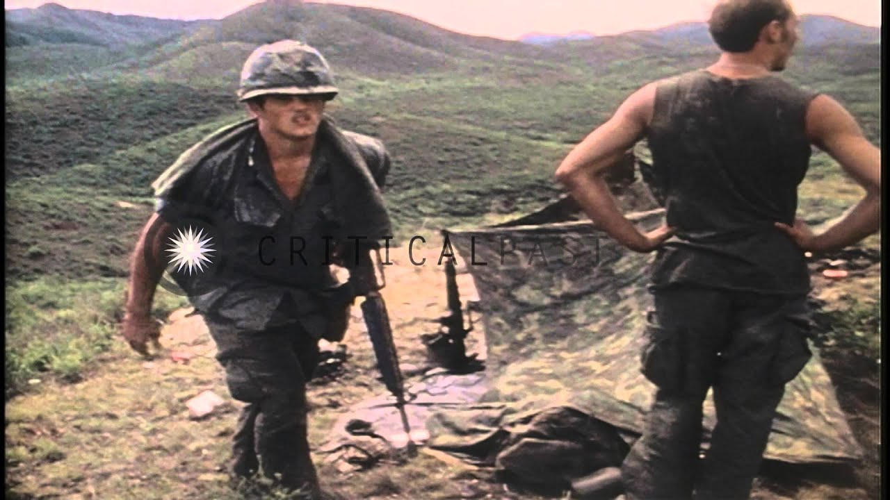 US soldiers help each other with ammunition near Phu Bai fire base in Vietnam du...HD Stock ...