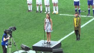 Rebecca Nelson Singing NZ National Anthem - All Blacks v Australia