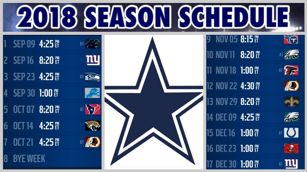 Image result for 2018-19 dallas cowboys schedule