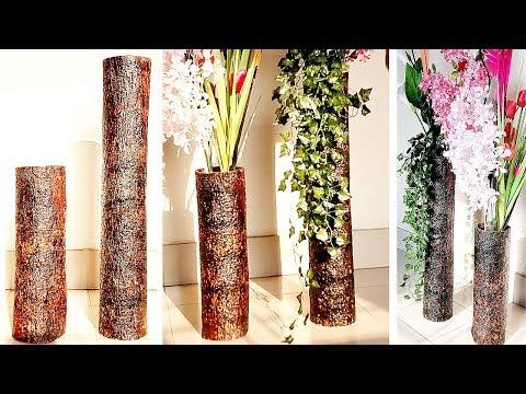Big Size Corner Flower Vase | Tree Bark Flower Vase | DIY Home Decor Ideas