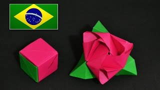 Origami: Rosa Cubo Transformer ( Valerie Vann )  - Instruções em português PT BR