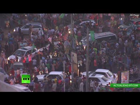 Celebraciones en Gaza tras el cese el fuego con Israel