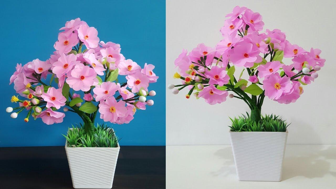 How To Make Plastic Flower Easy And Beautiful Hiasan Bunga Cantik Dari Kantong Plastik Kresek Youtube