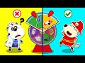 Baby Wolf Pretends to Play Jobs With Magic Wheel | Cartoon For Kids