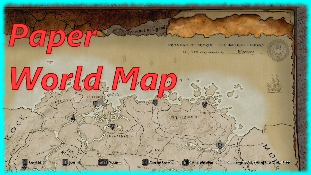 Skyrim Special Edition Mod - Paper World Map