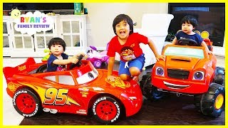 Twins first Power Wheels Ride Lightning McQueen vs Blaze and the monster Machine