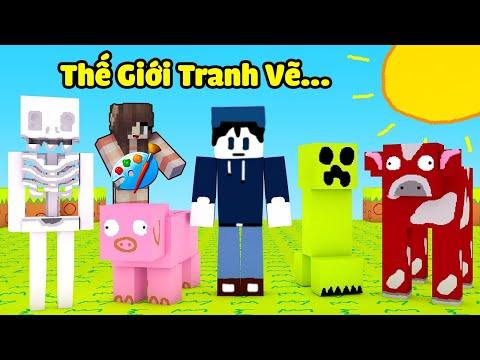 bqThanh và Ốc Khám Phá Thế Giới Minecraft Khi Đồ Họa Được Vẽ Bằng Tay (PAINT) Có Gì  Lạ ???