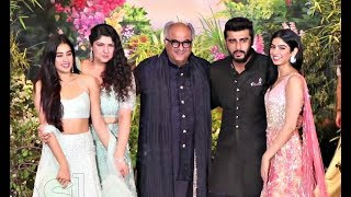 Jhanvi Kapoor, Arjun Kapoor, Khushi Kapoor, Anshula Kapoor, Boney Kapoor At Sonam Wedding Reception