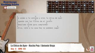 La Chica de Ayer - Nacha Pop / Antonio Vega Guitar Backing Track with scale, chords and lyrics