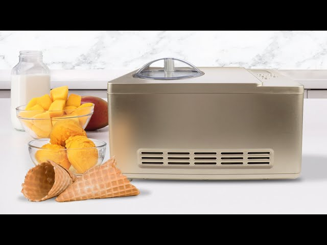 ICM-220CGY Whynter Ice Cream Maker 2 Quart Stainless Steel Bowl & Yogurt Function in Champagne Gold