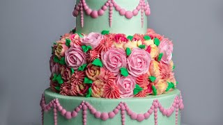 How to Make a Loaded Piped Floral Cake- Rosie's Dessert Spot
