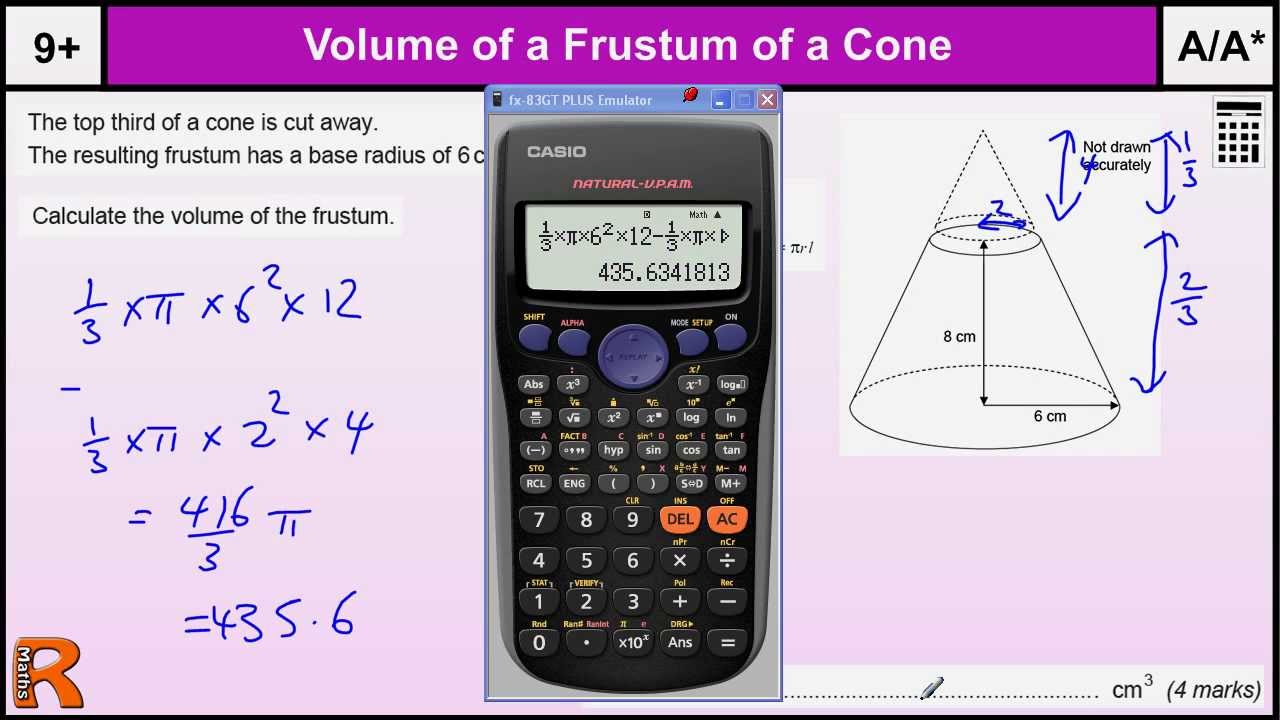Volume of a Cone - Frustum, GCSE Maths revision Exam paper practice -  YouTube