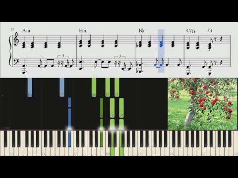Ağacda Alma, Dərrəm Sataram (xalq Mahnısı) [piano Tutorial + Notlar + Sözləri]