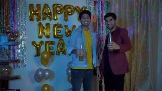 Attractive Indian friends offering beer with a wide smile on their face - New Year Eve