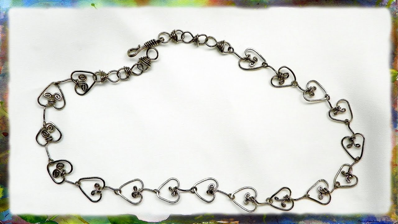 How to Make A Beautiful Silver Wire Heart Link Jewelry Necklace ...