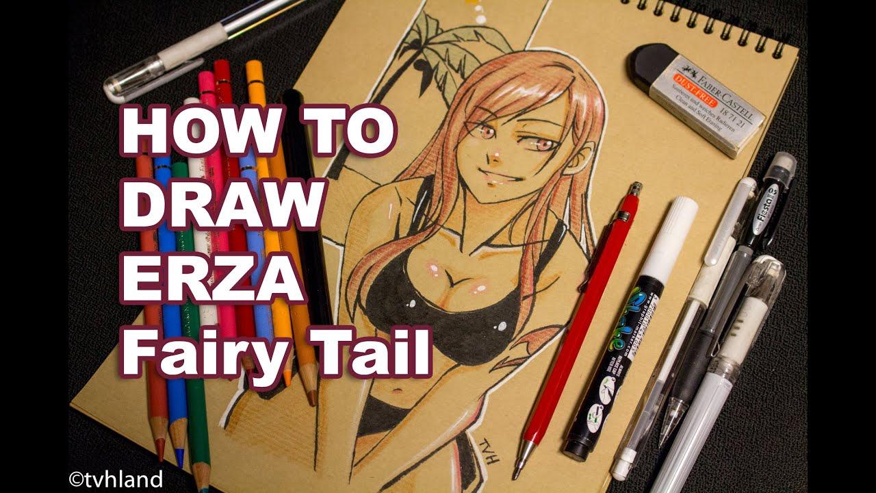 Comment dessiner erza de fairy tail dessin sur papier kraft youtube - Dessiner fairy tail ...