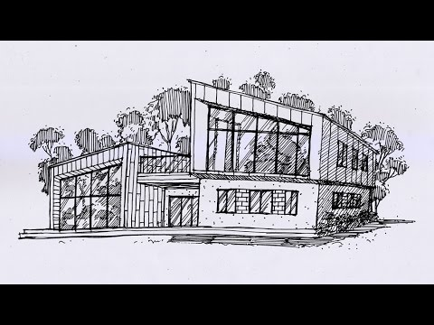 Architecture Drawing Hand timelapse free hand architectural drawing-51 - youtube