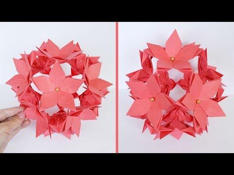 Paper FLOWER BALL KUSUDAMA I Origami Craft I Tutorial DIY