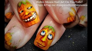 Pumpkin Nail Art | Thanksgiving Nails Design Tutorial